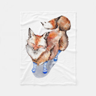 Fox in Socks Fleece Blanket