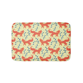 Fox in The Forest Vector Seamless Pattern Bath Mat