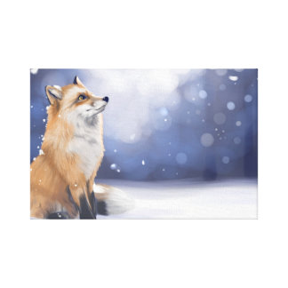 Fox in the snow canvas print