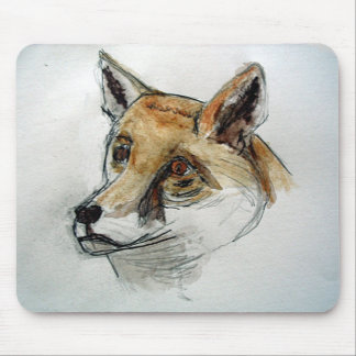Fox in watercolor pencils mouse mat