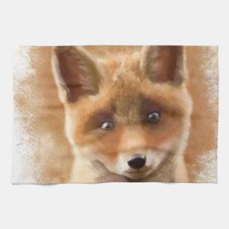 Fox Kit Smiling Tea Towel