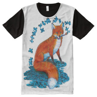 Fox Kitsune Surreal Butterfly Fantasy Dreamscape All-Over Print T-Shirt