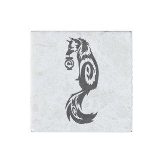 Fox Kitsune Tribal with Spirit Lantern Stone Magnet