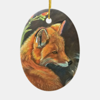 fox landscape paint painting hand art nature christmas ornament