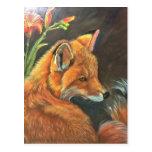 fox landscape paint painting hand art nature postcard