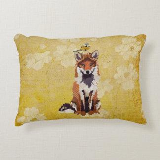 Fox & Little Gold Bird Pillow Accent Pillow