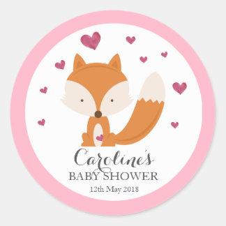 Fox Love Pink Baby Shower Sticker Round Sticker