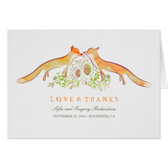 Fox Love Rustic and Whimsical Thank You Cards