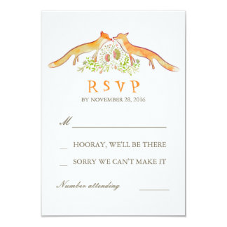 Fox Love Wedding RSVP Cards 9 Cm X 13 Cm Invitation Card