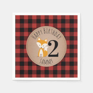 Fox Lumberjack Plaid Baby Birthday Napkins Paper Serviettes