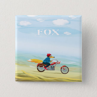 Fox-Man On A Red Motorcycle 15 Cm Square Badge