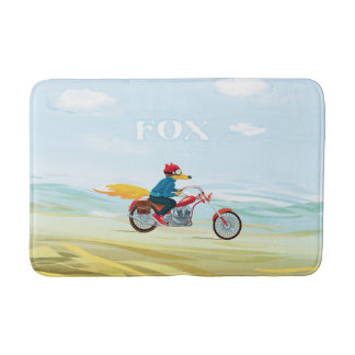 Fox-Man On A Red Motorcycle Bath Mats