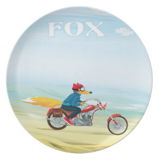 Fox-Man on a Red Motorcycle Plate