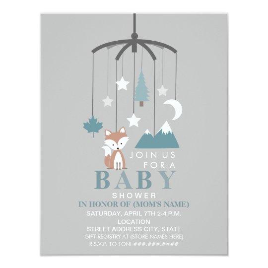 Fox Mobile Modern Boy Baby Shower Card