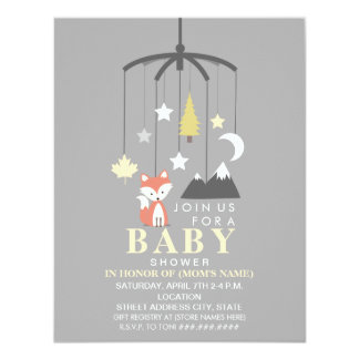 Fox Mobile Neutral Modern Baby Shower Card