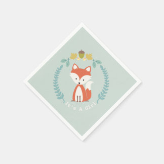 Fox Modern Girl Baby Shower Napkins Paper Napkin
