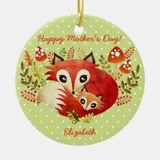 Fox Mom & Pup Ceramic Ornament