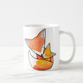 Fox Mother Child Cute Woodland Art Mug by MiKa