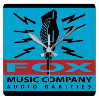 Fox Music Company Audio Rarities Square Wall Clock