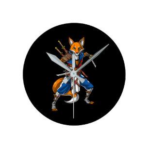 Fox Ninja Samurai Round Clock