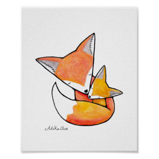 Fox Nursery Art Mom Baby Woodland Animal Poster