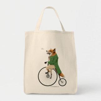 Fox on bike grocery tote bag