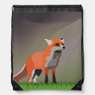 Fox on meadow drawstring bag