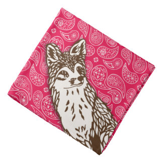 Fox on Red Paisleys Bandana