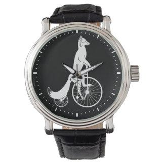 Fox on Vintage Penny Farthing Bike Watch