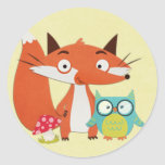 Fox Owl and Mushroom on Yellow Round Sticker