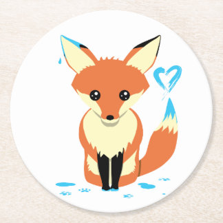 Fox Painting Blue Heart Cardboard Coaster
