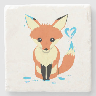 Fox Painting Blue Heart Cute Stone Coaster