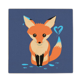 Fox Painting Blue Heart Cute Wood Coaster