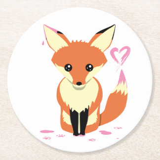 Fox Painting Pink Heart Cardboard Coaster