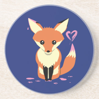 Fox Painting Pink Heart Cute Sandstone Coaster
