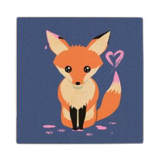 Fox Painting Pink Heart Cute Wood Coaster