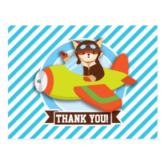 Fox Pilot in Green & Orange Airplane; Blue Stripes Postcards