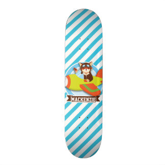 Fox Pilot in Green & Orange Airplane; Blue Stripes Skate Board Deck