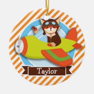 Fox Pilot in Green & Orange Airplane Christmas Ornament