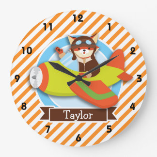 Fox Pilot in Green & Orange Airplane Large Clock
