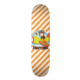 Fox Pilot in Green & Orange Airplane Skate Decks