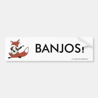 Fox Playing the Banjo Bumper Sticker