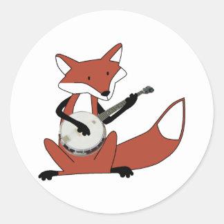 Fox Playing the Banjo Classic Round Sticker