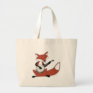 Fox Playing the Banjo Large Tote Bag
