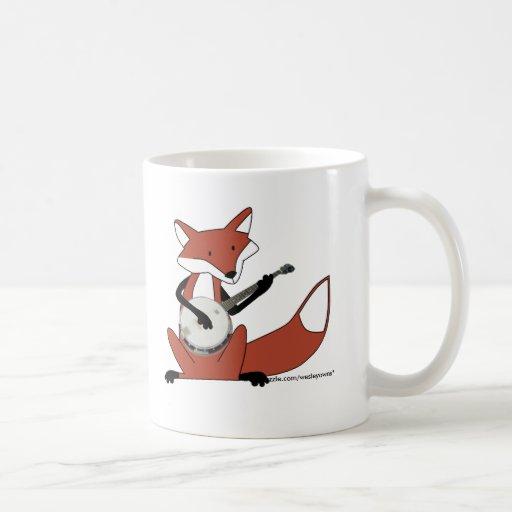 Fox Playing the Banjo Coffee Mugs