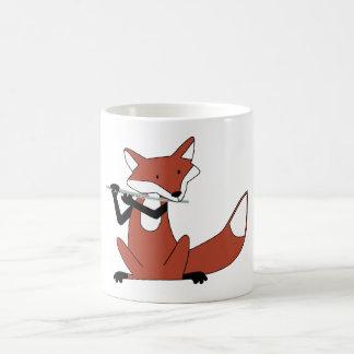 Fox Playing the Flute Basic White Mug