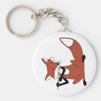 Fox Playing the Flute Key Ring