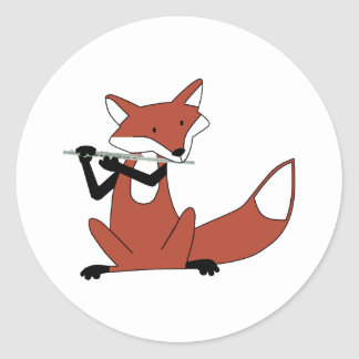 Fox Playing the Flute Round Sticker