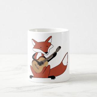 Fox Playing the Guitar Basic White Mug