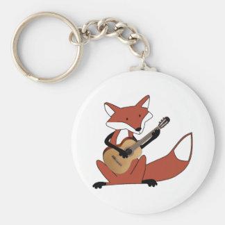 Fox Playing the Guitar Key Ring